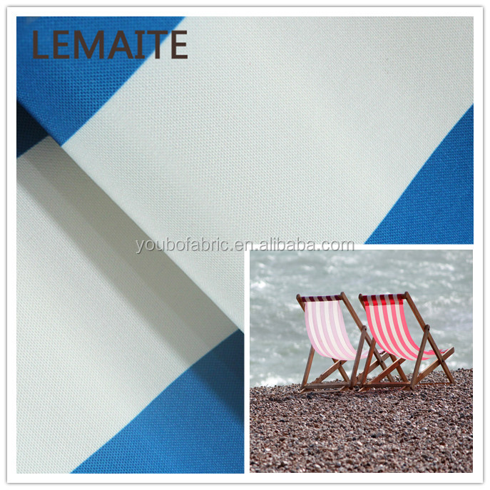 Hot sale blue white stripe woven plain fabrics waterproof fabric ,outdoor beach foldable chair fabric