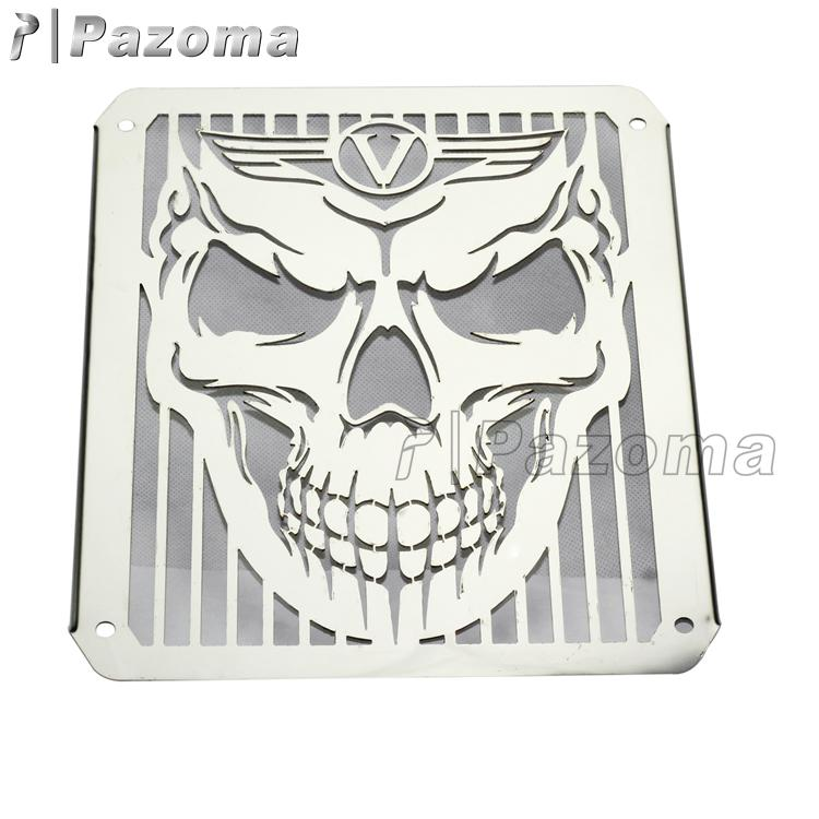 Skull Head Chrome Stainless Steel Radiator Cover Protector For KAWASAKI Vuclan VN400 VN800
