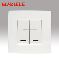 E-06 Europe Two gang one way wall switch with light