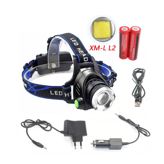 LED Headlamp Aluminum CREE XM-L <strong>L2</strong> / T6 Zoom Led Headlight Head Flashlight Adjustable Head Lamp 18650 Battery Front Light