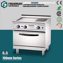 hot sale kitchen equipment free standing commercial stainless steel 2/3 Flat and 1/3 Grooved gas griddle with oven