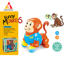 Plastic small cartoon monkeys elecric toy wiht b/o musical toy