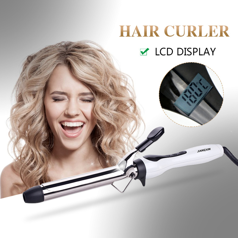 plastic hair curler rollers with digital display ceramic barrel curling