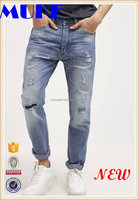100%Cotton Men Heavy Destruction In Knee And Front Pocket Denim Jean Pants For Men's Light Blue Color Patch Slim Pants