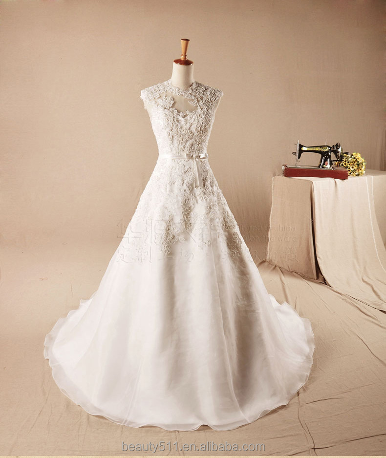 New Fashion Discount High Collar sleeveless Bridal Dress Wedding Gown TS181