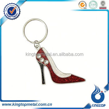 Red rhinestones high heel shape keychain