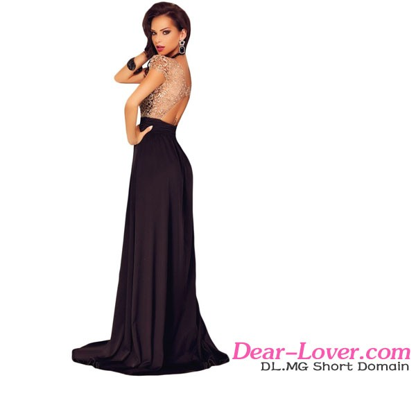 Gold Lace Overlay Slit Free Prom Long Dresses Evening Gown Party Wear