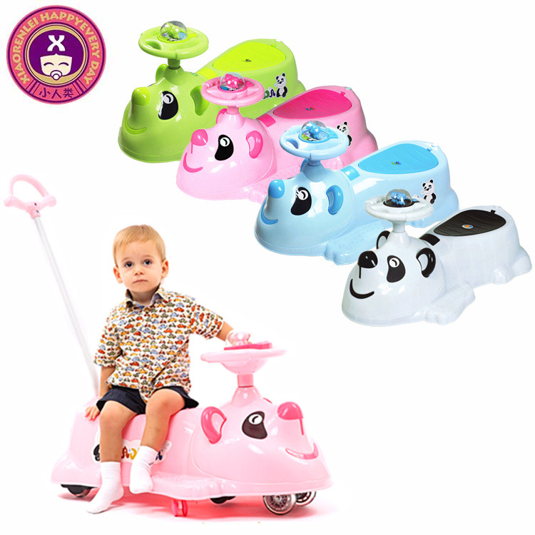 Panda Handle Silent Pu Wheels Pink Big Kids Baby Ride On Car
