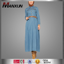 Beautiful Female Arabian Dress with Belt Denim Islamic Robe Popular Blue Jean Abayas