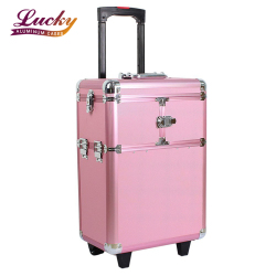 Trolley Beauty Organizer Professional Jewelry Train Box Pink Makeup Case With 2 Wheels