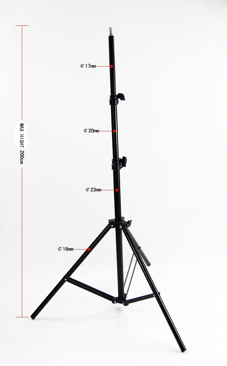 high quality aluminum alloy photo studio 2m length light stand flexible tripod