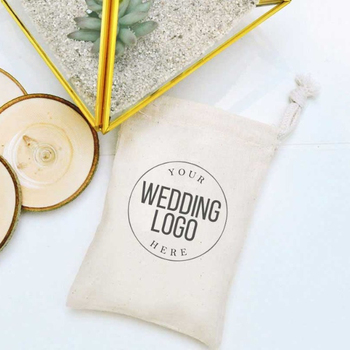 Custom wedding logo printing favor muslin cotton drawstring bag