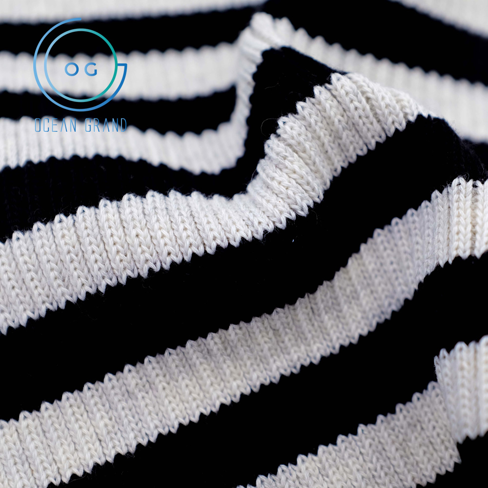 Taiwan Colored Striped 2x2 Thick Knit Rib Fabric for Garment