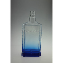 HIGH QUALITY 750ML EMPTY TEQUILA BLUE GLASS BOTTLE