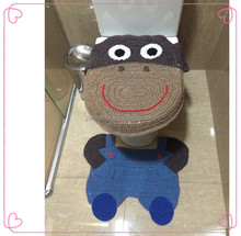Crochet Animal Pattern Toilet Seat Cushion Set Handmade Knitted Toilet Lid Cover & Bathroom Rug