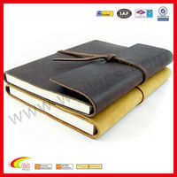 Genuine top-quality leather 2014 agenda with wrap-around leather strap secures