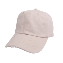 Wholesale Custom 6 Panel Cheap Unstructured Blank Plain Distressed Dad Hat
