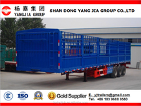 double fence bulk cargo transporting cage truck trailer with goose-neck/hot sale low bed type utility tri axle