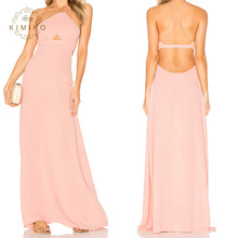 Latest Gown Designs Sexy Halter Backless Girls Pink Long Evening Dress