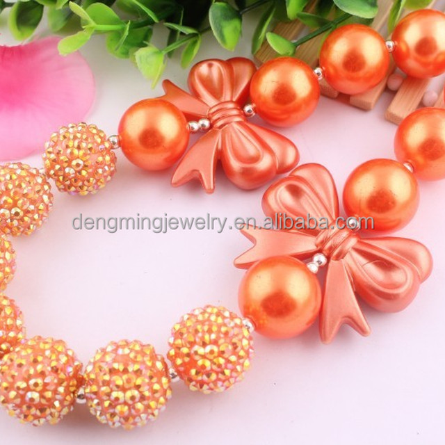 Handmade chunky bead necklace in bulk!Fashion charming Christmas chunky orange bead necklace for little girls
