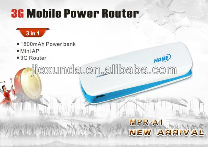Hame A1 3G Mobile Power Router MPR-A1 Pocket WIFI(3 in 1:Power Bank , 3G Hotspot , Mini AP)- White