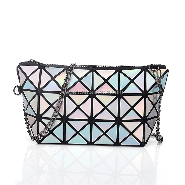Plaid Laser Bag Geometric Shoulder Bags Clutch Makeup Crossbody Bags for Women Messenger Bag Patchwork