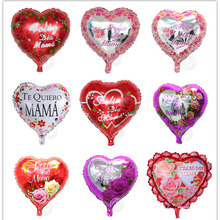 "Sweety 18 inch heart shape purple/red rose and ""Feliz lia Mama"" Mother Day balloon foil balloons for wedding/party mylar balloon"