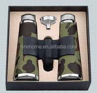 factory direct sell metal binocular hip flask with leather