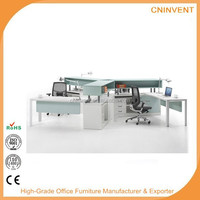 Guangzhou office desk workstation for three person with top cabinet