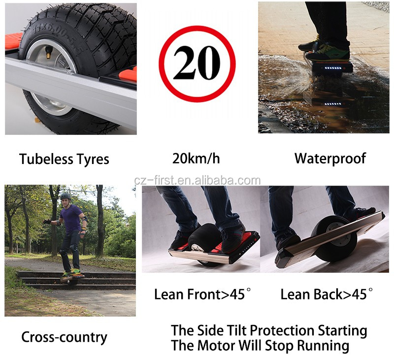 Green hover board off road one wheel electric self balancing scooter