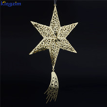2018 new christmas tree top decorations metal cut hollow barn star