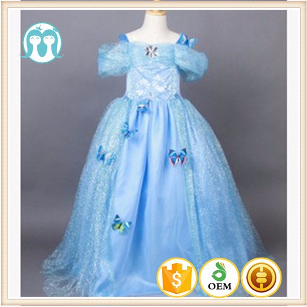 Newest coming 2015 fashion frozen costume baby dress costume for girls dress