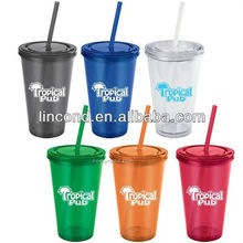 Freedom Insulated Acrylic Tumbler Glass with Straw and lid