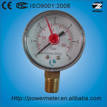 hot selling 50mm/60mm bottom type dual scale pressure gauge red pointer manometer