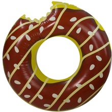 Custom Shape Inflatable Chocolate Or Strawberry Donut Pool Float Swimming Ring For Adults and Kids