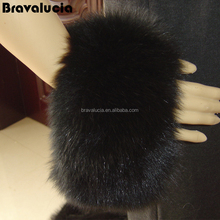 Dyed Black Fur Wrist Arm Warmer Pelt Fox Cuff Fur Sleeve Real Fur Cuffs
