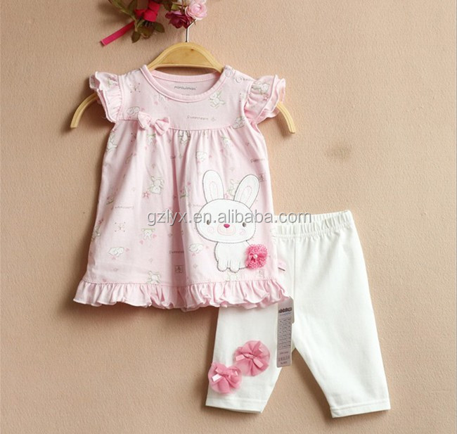 Lovely rabbit patches double ruffle outfits kint cotton baby clothes of childrens boutique clothing sets