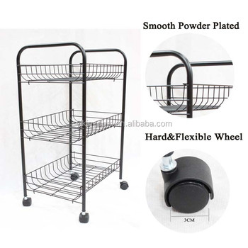 549-24 3-tier power coating utility kitchen vegetable and fruit storage cart