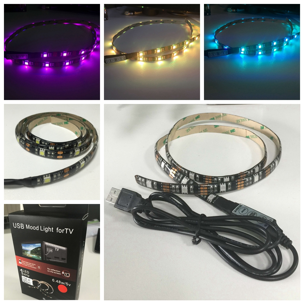 Customized Flexible LED Strip Mood Light with USB for Car,Computer,Tent,TV Back Lighting