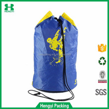 Wholesale large capacity 600D polyester shoulder backpack with drawstring for outdoor hiking and traveling