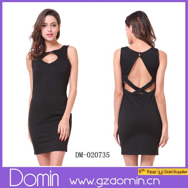 Ladies Sleeveless Cut Out Detail Sexy Bodycon Dress