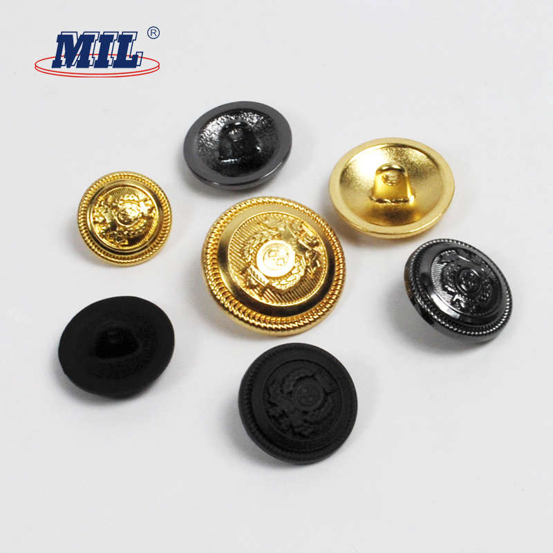 Custom Logo Washable Gold Metal Police Uniform Military Buttons