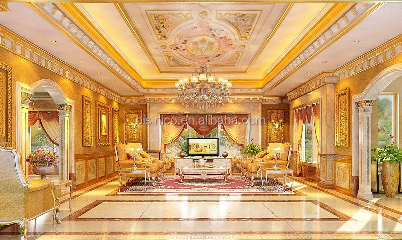 Luxury Golden European Style 3d Rendering Interior Design for Staircase and Entrance Hall of Private Luxury Villa