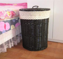 Wholesale indoor cheap black wicker laundry basket