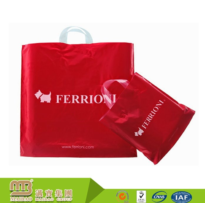 Wholesale personalized printed shopping packaging poly flexi loop hdpe plastic tote bags with handles
