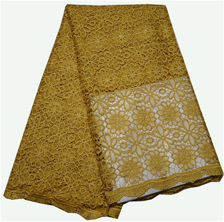 factory in stock embellished gold lace fabric for african cloth
