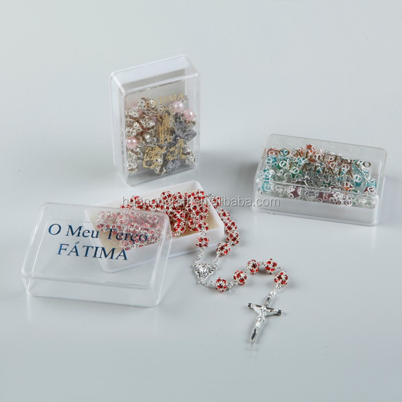 Huanan wholesale 10*8mm plastic red rosary gift box
