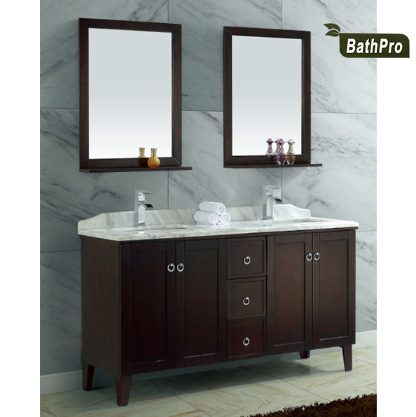 wall mounted solid wooden quartz stone double sink bathroom vanity