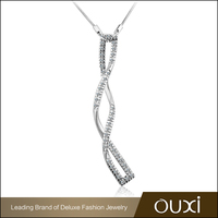 OUXI Wholesale Jewelry Rhodium Plated Necklace Silver 925