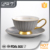 Promotional gift chinese porcelain tea cup with gold rim and decal